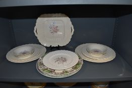 A mixture of Spode plates and bowls including heath and Rose,Claudia and Pekin.