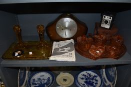 A selection of vintage items including colourful pressed glass dressing table sets,Conway camera and