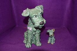Two sylvac terriers in green colour way, marked underside 1378 and 1380.