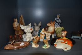 A mixed lot of vintage ceramics including Crown Devon Westie,ducks,corgi and more,also a stylised