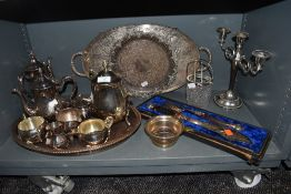 A selection of plated ware and similar including ornate boxed fish servers,tray, candle stick holder