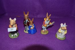 Four Royal Doulton Bunnykins and Brambly Hedge figures, Family Photograph DB1, Strumming DB16,