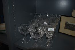 An assortment of vintage wine glasses.