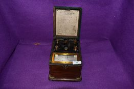 An Eversheds Ohmmeter portable testing kit in Mahogany case.