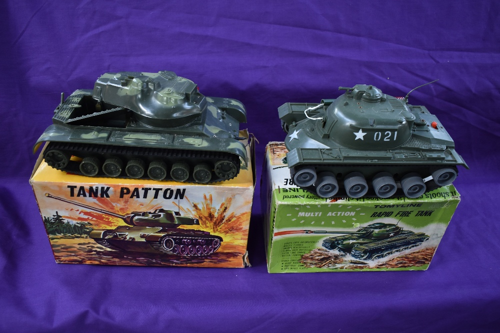 Two Clifford Toys battery operated and plastic Tanks, Sherman M-4 and Desert Patrol, both boxed - Image 2 of 2