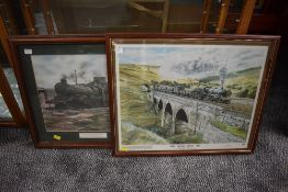 Two limited edition framed prints, one after Derek Jones, Castle at Stafford Road Wolverhampton,