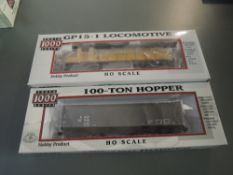 Two Proto 1000 Series HO Scale Union Pacific GP15-1 Locomotive & 100 Ton Hopper Wagon, both boxed