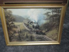 A framed print after Don Bracken, Racing The Train