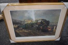 A Framed Print after Terence Cuneo, The Golden Arrow, bearing signature to mount and numbered 590/