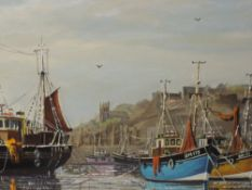 An oil painting, W H Stockman, Brixham harbour, signed, 50 x 90cm, framed