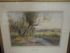 A watercolour, William Wilde, An afternoon by the river, signed, attributed verso, 36 x 48cm, framed