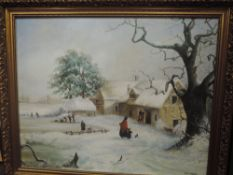 An oil painting, Audrey Gabbert, nostalgic cottage in snow, signed, 60 x 75cm, framed
