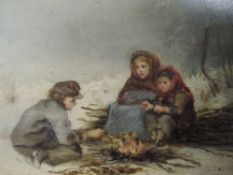 An oil painting on board, Bowyers, 19th century children by winter fire, indistinctly signed, 11 x