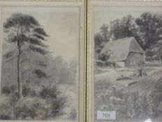 A pair of watercolours, J Hodgson, country landscapes, signed, each, 22 x 15cm, framed and glazed