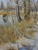 An acrylic painting, Marion Bradley, winter trees, signed and attributed verso, 29 x 12cm, framed