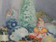 A watercolour, Arthur Bracken, Christmas Decorations, signed and attributed verso, 20 x 26cm, framed