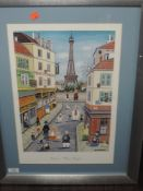 A pair of prints, Bin Kashina, Paris, 44 x 30cm, framed and glazed