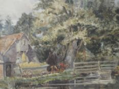 A watercolour, Sussex mill house, 25 x 36cm, framed and glazed