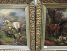 A pair of oil paintings, Mossely, horses and dogs, indistinctly signed, 48 x 36cm, framed