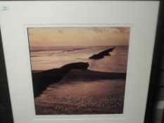 A Ltd Ed print art photograph, Peter J Fellows, beach scene, signed and numbered 9/25, 45 x 45cm,