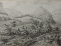A pencil sketch, St John's Vale, Cumberland, attributed verso, dated 10/11/1831, 13 x 23cm, framed