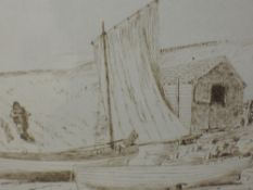 A pen and ink sketch, Henry Eddowes Keene, Southwold, attributed verso, 11 x 18cm, framed and