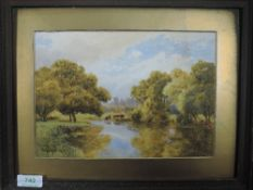 A watercolour Thomas Payne, woodland river, signed and dated 1910, 18 x 25cm, framed and glazed