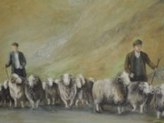 An oil painting, Audle, hill shepherd, indistinctly signed, 45 x 147cm, framed
