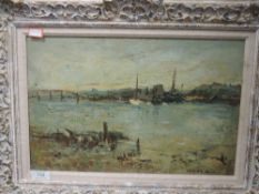 An oil painting on board, Adrian Hill, impressionist estuary, signed, 26 x 40cm, framed