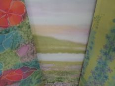 Three textile prints, after Margaret Wilmot, still life, inc Delphiniums, each 93 x 45cm