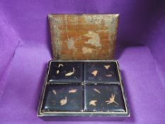 A Japanese lacquer jewellery box well detailed with imagery of insects and turtle mythology