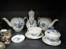 A selection royal Copenhagen including coffee pot, tea pots,lidded pot, cup and saucer and more.AF.