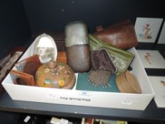 A varied lot of items including early 20tch century chain coin purse, hip flask, leather jewellery