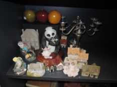 A mixed lot of figurines including Lilliput lanes, Dresden lace figures and two plated candelabras.