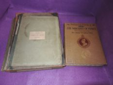 Four antique books, flowers of lovliness,Shakespeare's comedy of The Merchant of Venice, Burnet on
