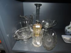 A selection of vintage pressed glass including jugs and bowls and a Swiza carriage clock.