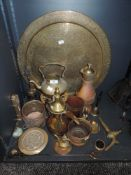 A collection of vintage brass and copper including Farrow and Jackson beer keg tap,large embossed