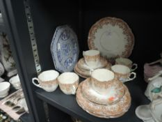 Nineteen items of Aynsley china having brown floral transfer pattern including cups, saucers and