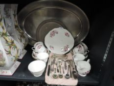 A collection of Queen Anne china having transfer pattern of roses in pink and lilac hues with gilt
