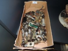 A selection of vintage valve tubes and similar electrical components