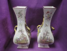 Two large decorative vases painted in the Clerissy Faience style having classical scenes and floral