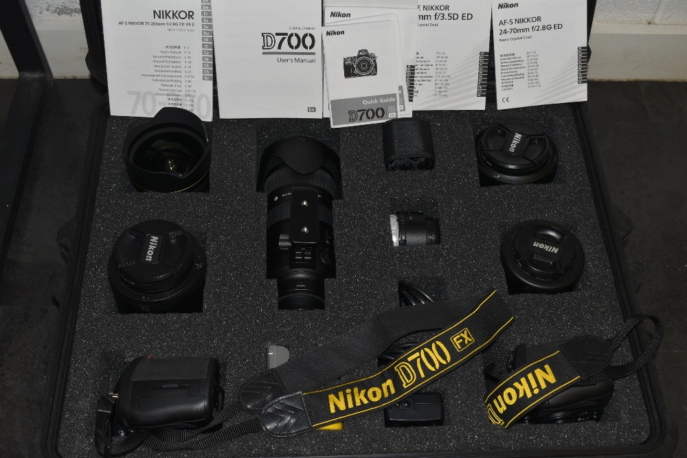 A selection of Nikon cameras and lenses in a hard Peli 1600 case. Two Nikon D700 camera bodies, a - Image 8 of 8