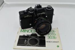 A Minolta SR T 101b camera with users manual