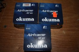 Three Okuma fly fishing reels unused in boxes.AF 4/6
