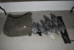 A canvas bag containing pigeon decoys.