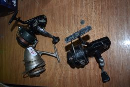 Three vintage spinning reels Garcia Mitchell Omnia and Intrepid.