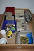 An assortment of vintage tackle including fly reel, hooks and lures,some hooks in original Hardy