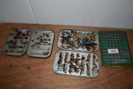 A nice selection of Salmon and trout flies in tins and wallet.