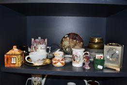 A large and varied selection of vintage and modern ceramics including lustre vase, brass trinket