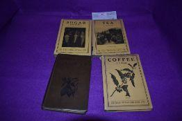 Four vintage books on coffee,tea,sugar and cocoa.